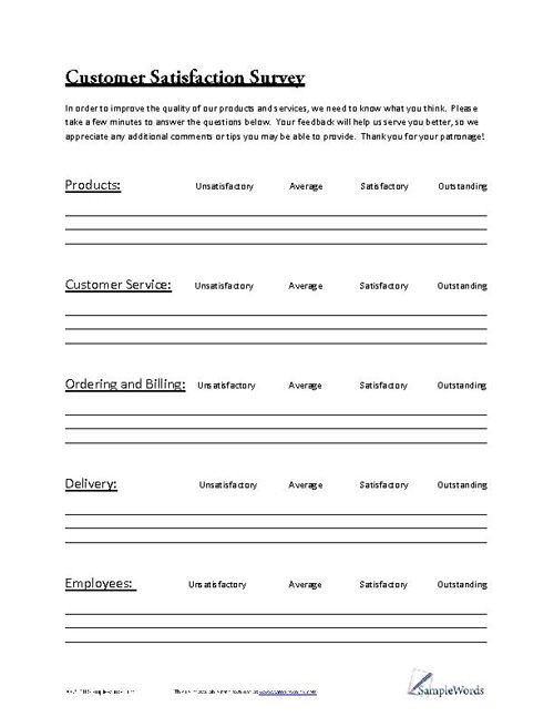 Customer Satisfaction Survey Pdf - job satisfaction survey template