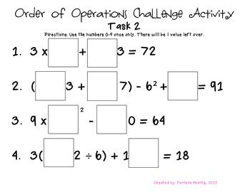 Order Of Operations Challenge Task 2 Order Of Operations Math