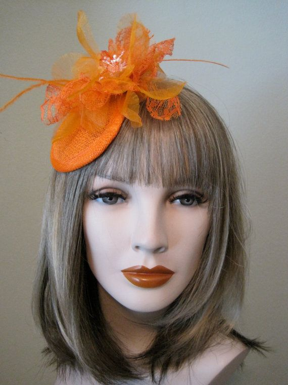 Orange Fascinator Orange Hat Cocktail Hat Hair by FromHeart2Home 8176425ad82