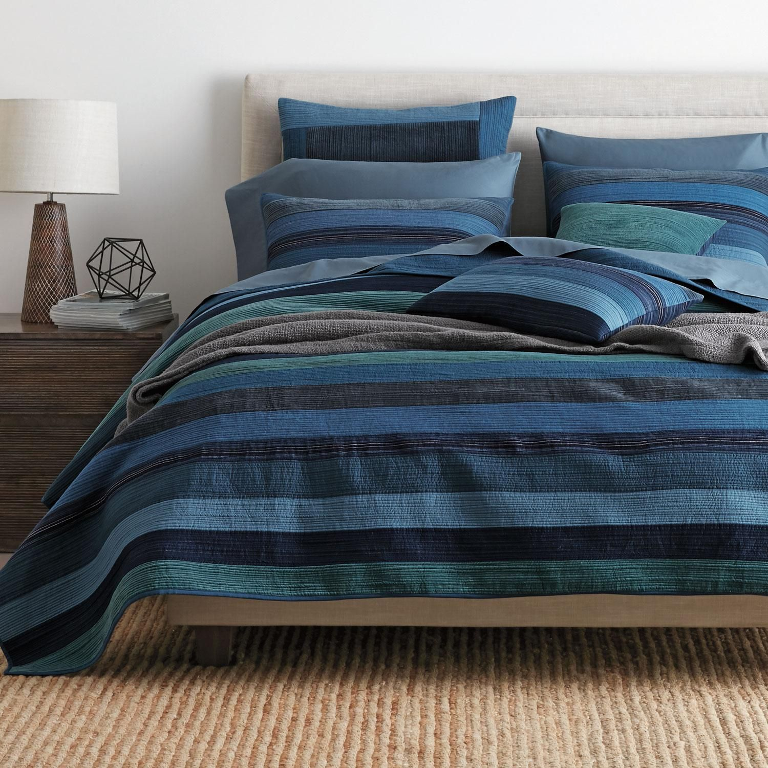 Weston Blue Stripe Quilt at The Company Store Full/Queen