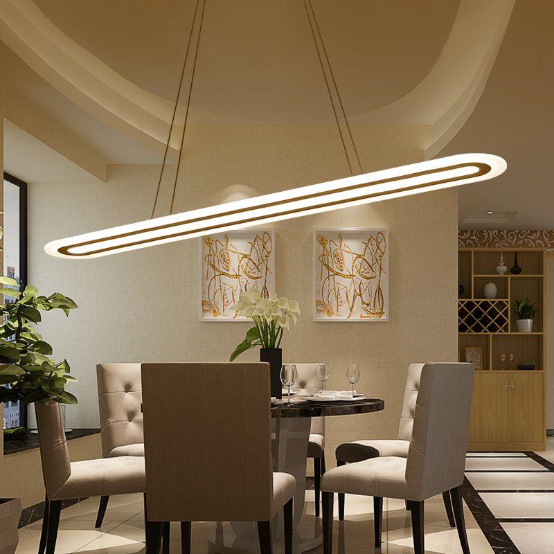 Modern Led Suspension Chandelier Oval Strip Plexiglass Chandelier Alluring Hanging Dining Room Lights Design Inspiration