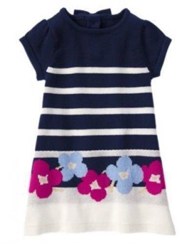 c1d03a2bf7 GYMBOREE Charm Class Girls Size 3 3T Navy Striped Flower Bow Sweater Dress  NWT