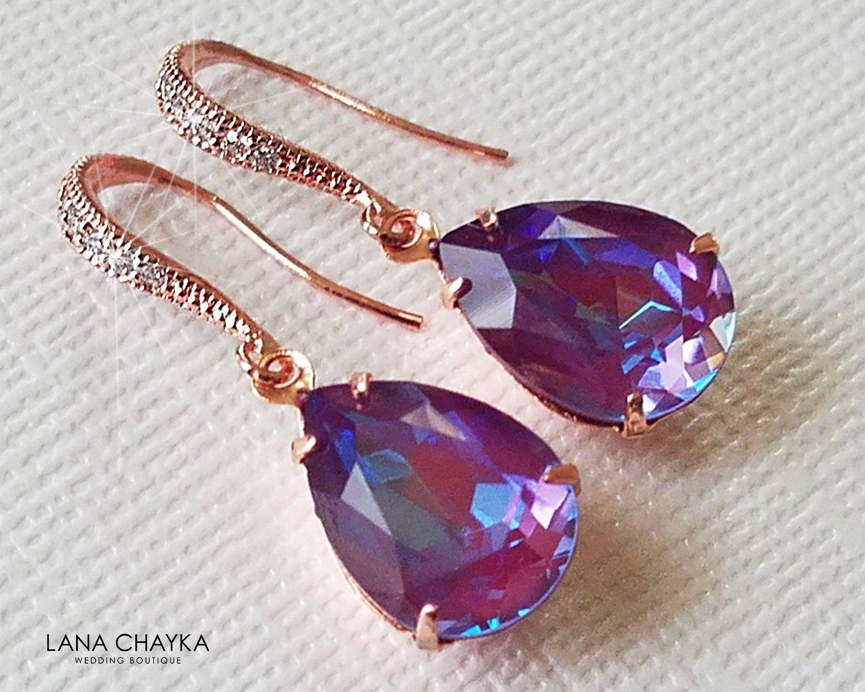 Burgundy Delite Rose Gold Earrings