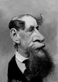 Caricature of Dickens.