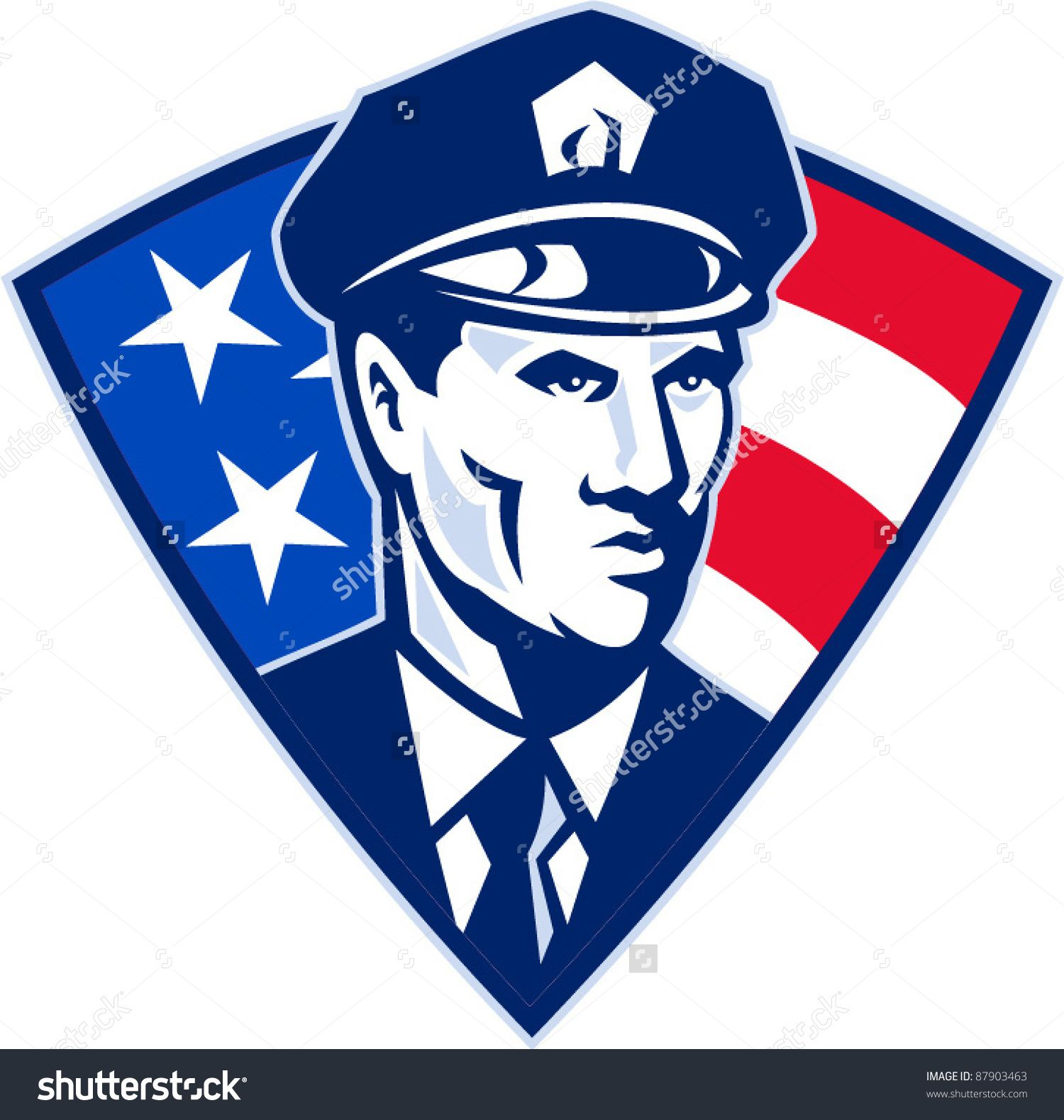 vector illustration of an American policeman police