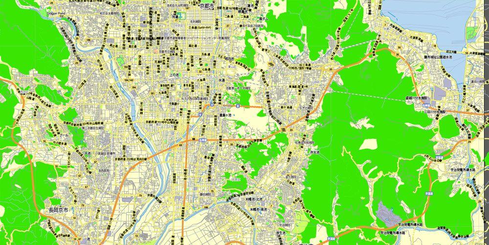 PDF Map Kyoto Japan Printable Exact Vector Map GView Level - Map 0f japan