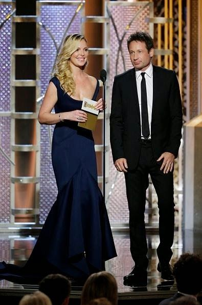 David Duchovny and Katherine Heigl present at the 72nd Annual Golden Globes