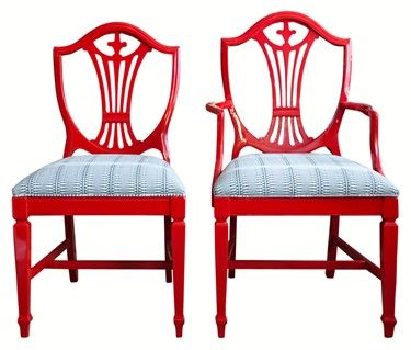 red shield back dining chair
