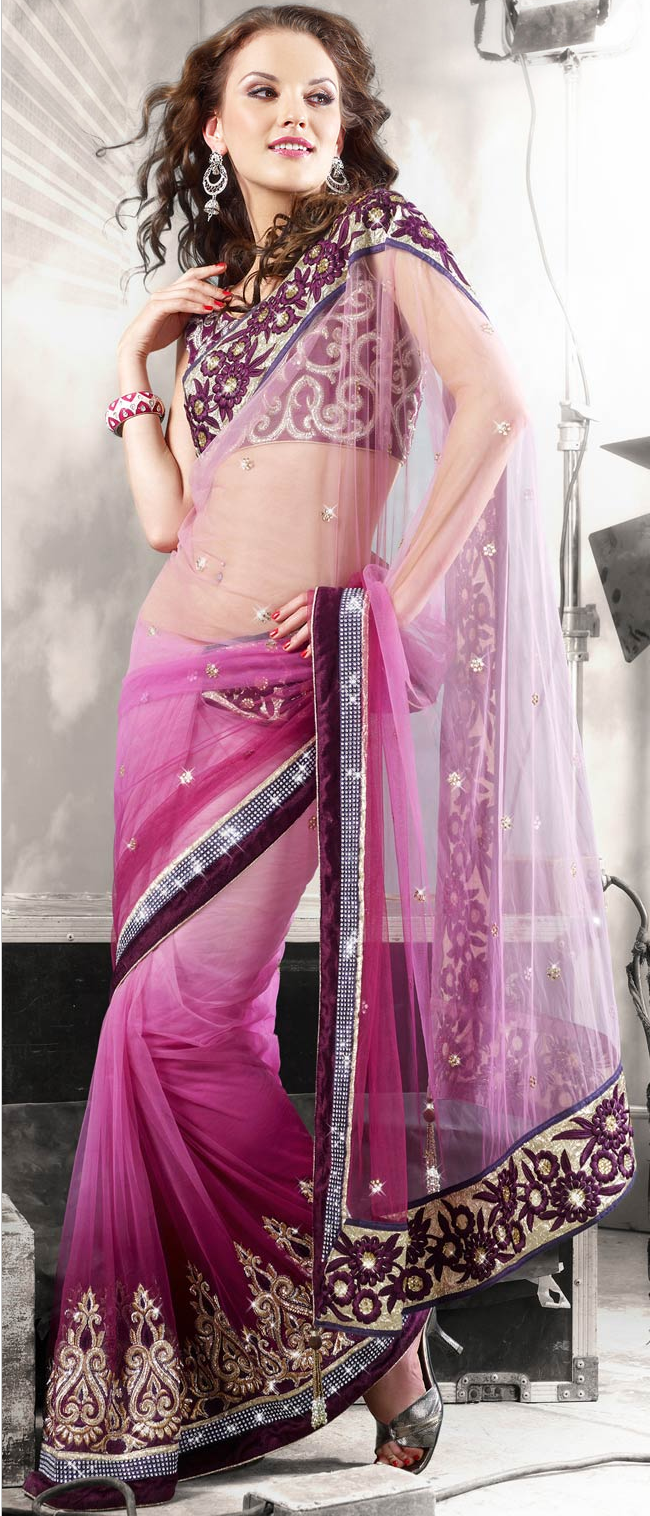 Shaded #Pink Net #Saree With Blouse