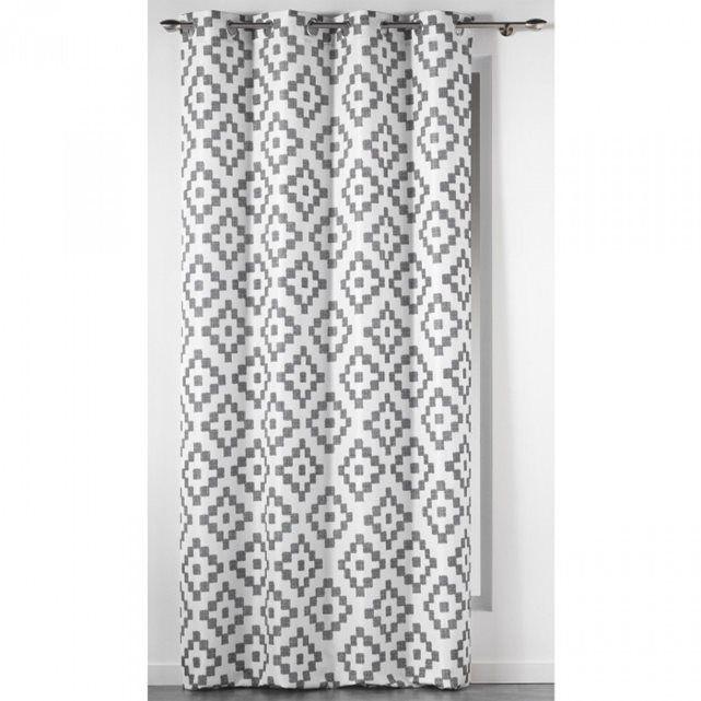rideau motifs sasha blanc gris 140x260 douceur d 39 int rieur appart pinterest rideaux. Black Bedroom Furniture Sets. Home Design Ideas