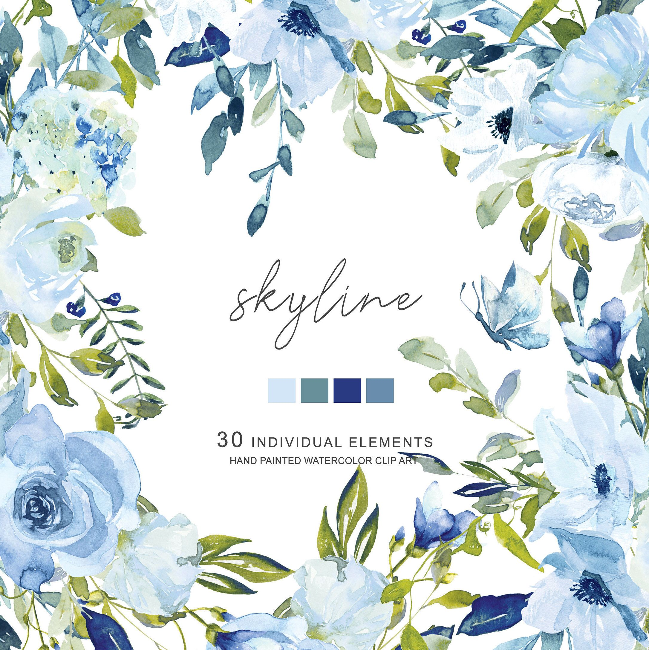 Hand Painted Watercolor Light Blue And Turquoise Flowers Clipart