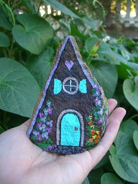 Hand painted rock house.  Would look so cute in the flower bed or at base of a tree!