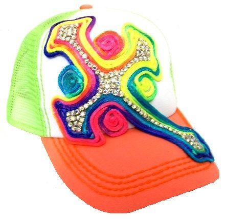 Neon Trucker Cap with Cross by KoolFashionplace on Etsy