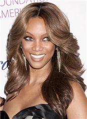 Popurlar Medium Brown Female Tyra Wavy Celebrity Hairstyle 18 Inch