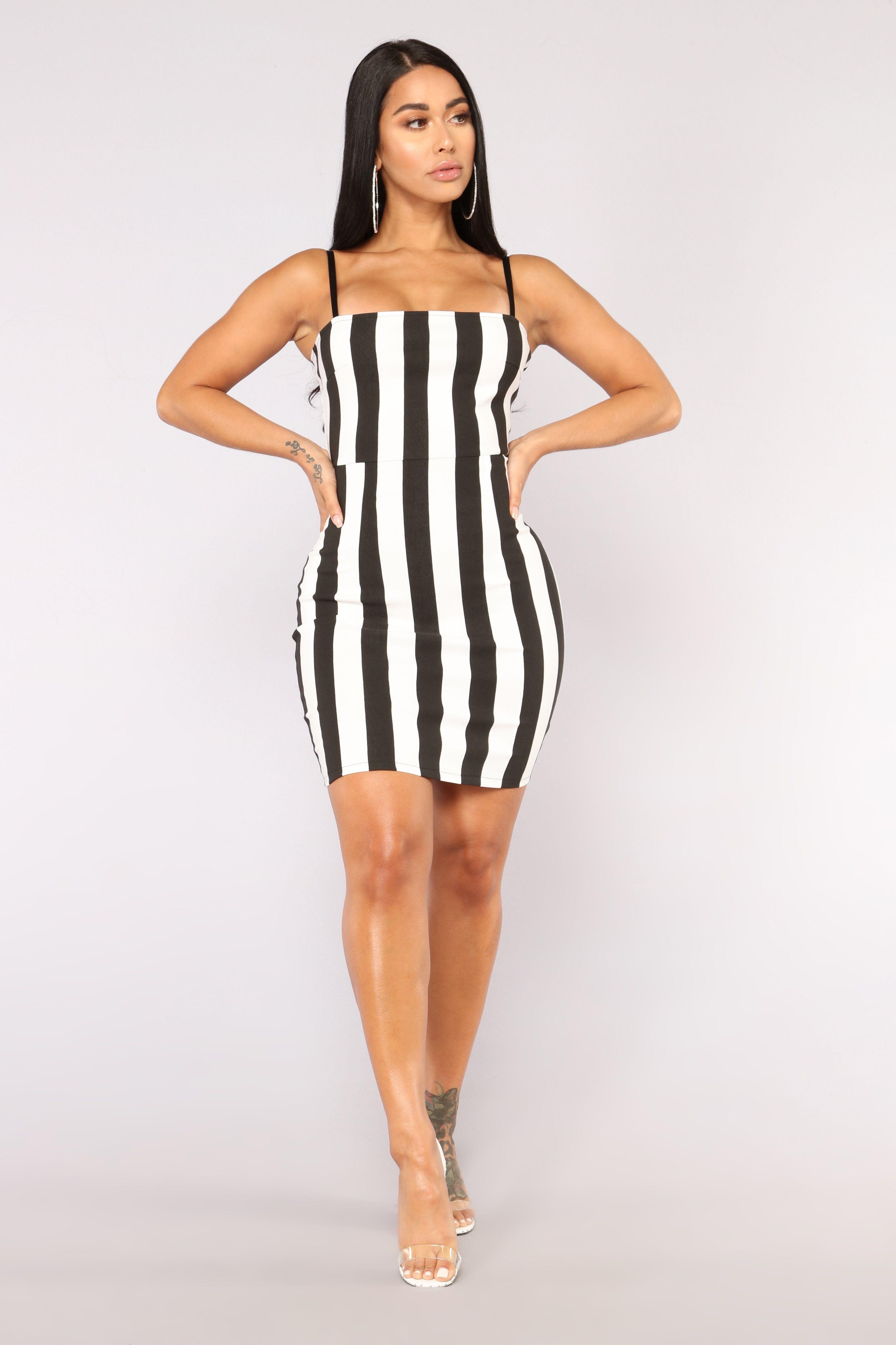 0e9284862e0 Friday Nights Striped Dress - Black White