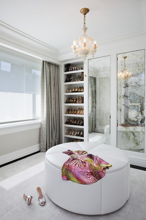 Incredible Modern French Dressing Room With Gray Walls Paint Color And Gray  Silk Drapes...LOVE The Antiqued Mirrors