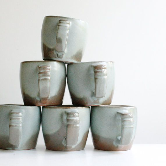 Vintage Frankoma Pottery Mugs Set of Six - Woodland Moss Aqua and Brown & Vintage Frankoma Pottery Mugs Set of Six - Woodland Moss Aqua and ...