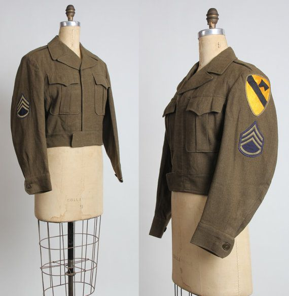 1950s US Cavalry Jacket with Patches.  Mid Century by VeraVague