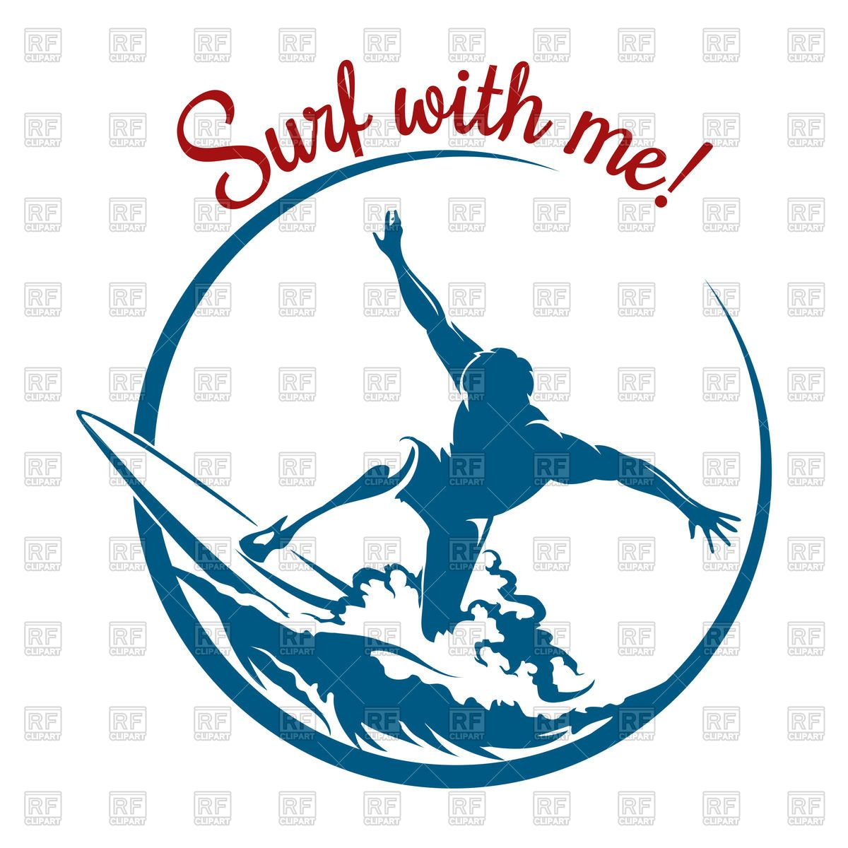 Royalty Free Vector Image Of Silhouette Of Surfer On Wave Emblem