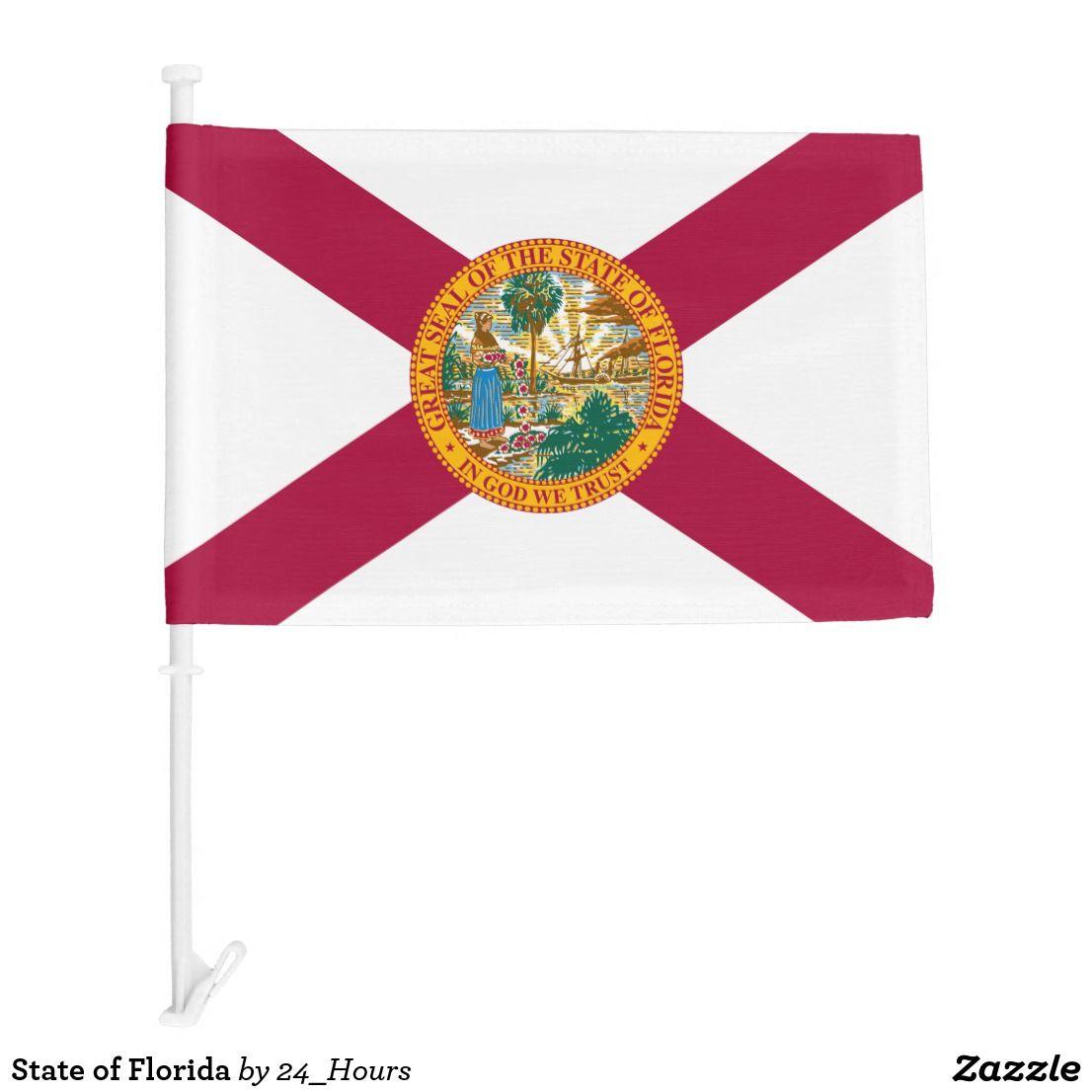 State Of Florida Car Flag Zazzle Com Car Flags Florida State Flag State Of Florida