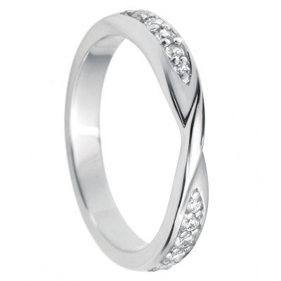 950 Platinum Bead Set Diamond Set Twist Wedding Ring Band Ace