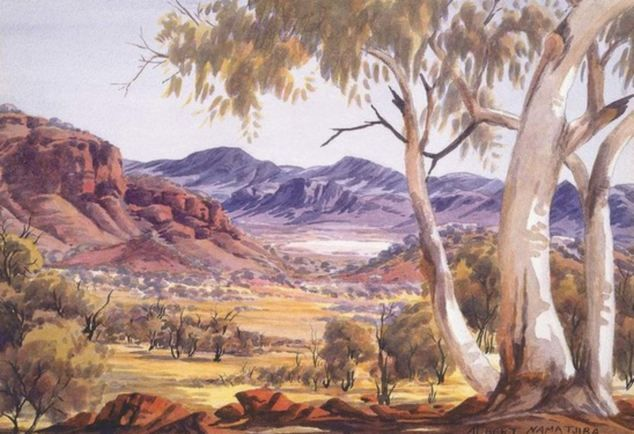 Arsonists Burn Down Iconic Eucalyptus Trees Featured In Paintings By One Of Australia S Most Famous Aboriginal Artists Albert Namatjira Australian Painting Aboriginal Artists Australian Artists