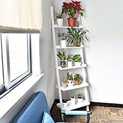 White 5 Tier Bookshelf Leaning Ladder Wall Shelf Bookcase Storage Display