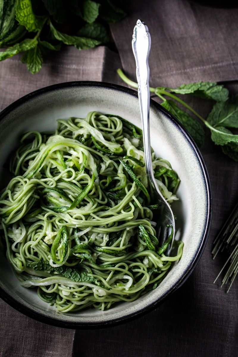 Monthly Fitness Goals: August // Green Tea and Zucchini Noodles with Honey-Ginger Sauce - Katie at the Kitchen Door