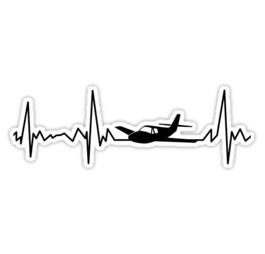 Airplane Pilot Heartbeat Flying Sticker By Playloud Airplane Tattoos Airplane Pilot Plane Tattoo