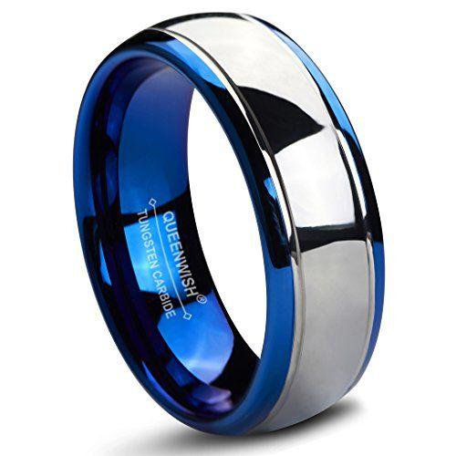 FlameReflection Tungsten 8mm Wedding Band Multi-Faceted Blue Prism Spinner Ring Mens Womens Engagement Ring