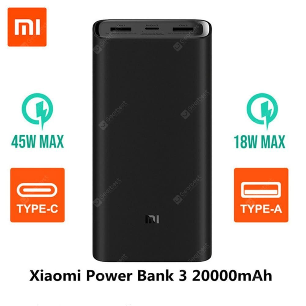 Original Xiaomi 20000mAh Power Bank 3 Portable USB-C 45W Charger for L