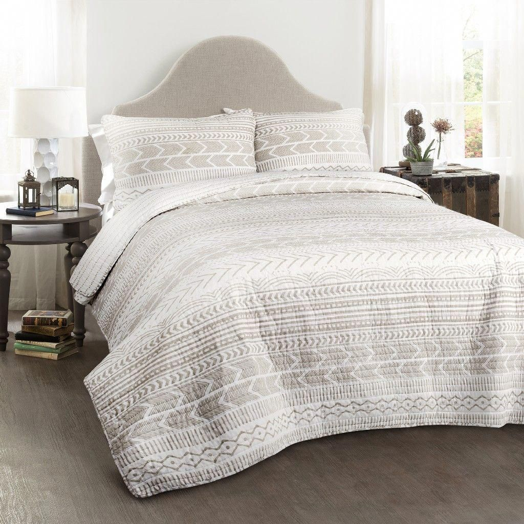 Hygge Geo Quilt Taupe/White 3Pc Set King Lush Décor
