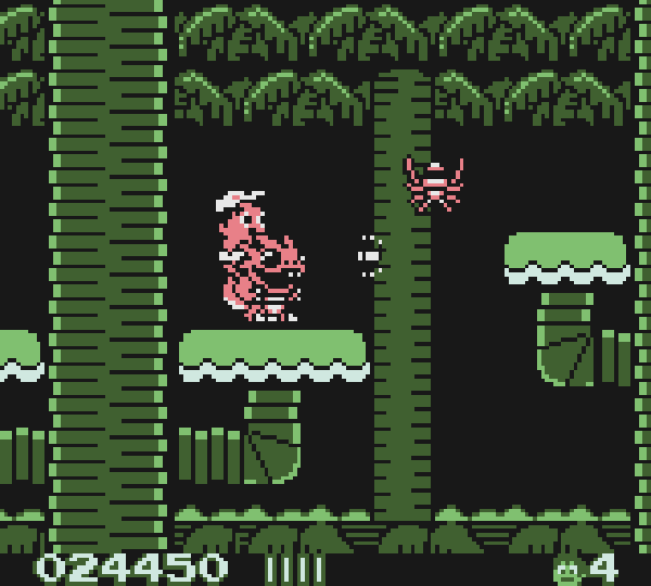 A screen shot of Game Boy Adventure Island on the Game Boy Crammer podcast