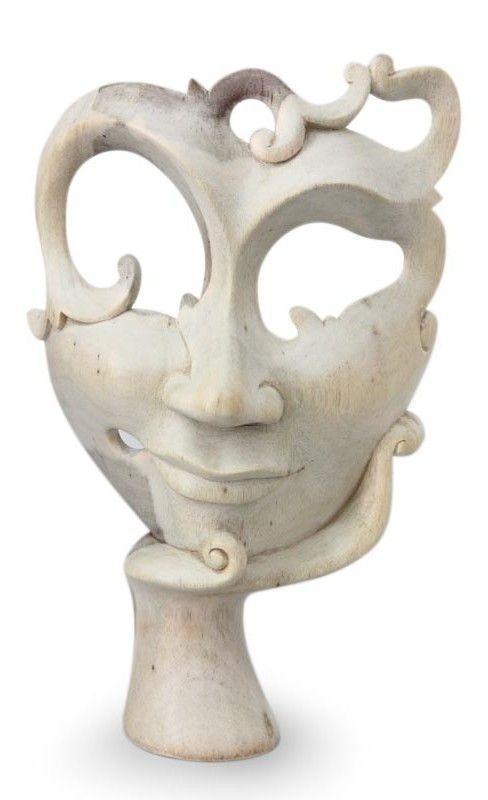 Awaiting Him Wood Mask Wall Décor