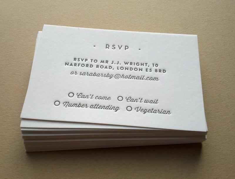 Letterpress printed wedding stationery mini size
