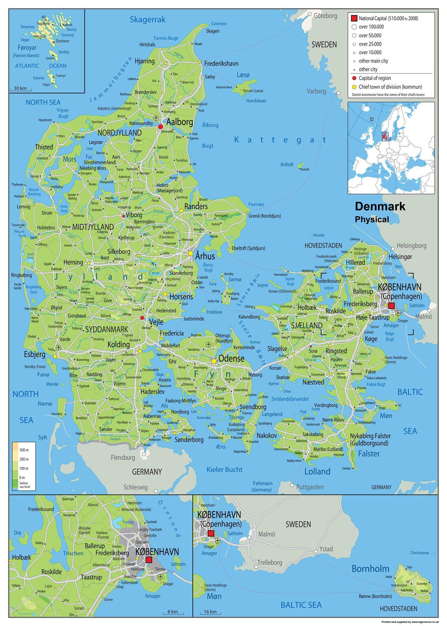 Wandkarte Physische Karte Von Danemark Laminiertes Papier Ga A1 Size 59 4 X 84 1 Cm In 2020 Karte Von Danemark Danemark Karten