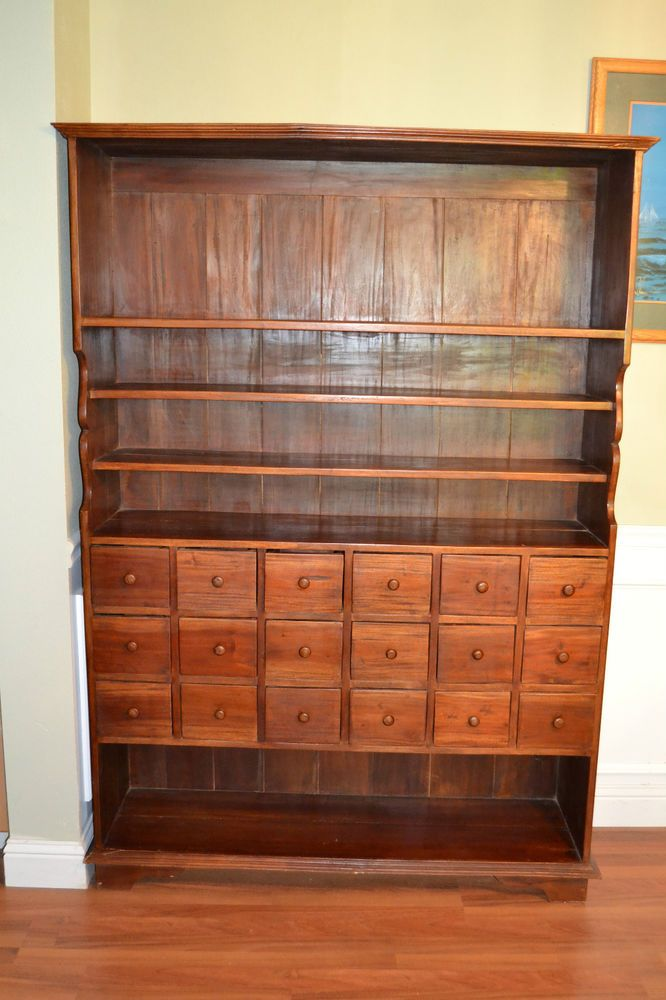 Antique Mahogany 18 drawer Chest and Cupboard Apothecary Cabinet Display