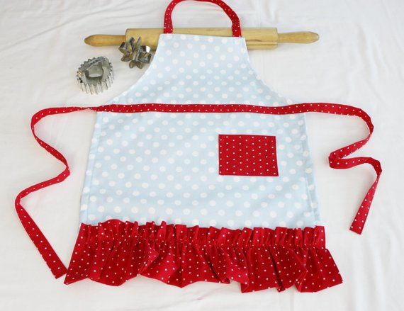 ready to ship Retro Cherries on Aqua Child Apron with red pocket