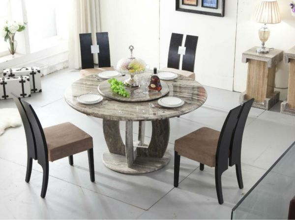 Round Grey Granite Stone Dining Table Sets In Contemporary Style Stone Dining Table Dining Table Dining Table Setting