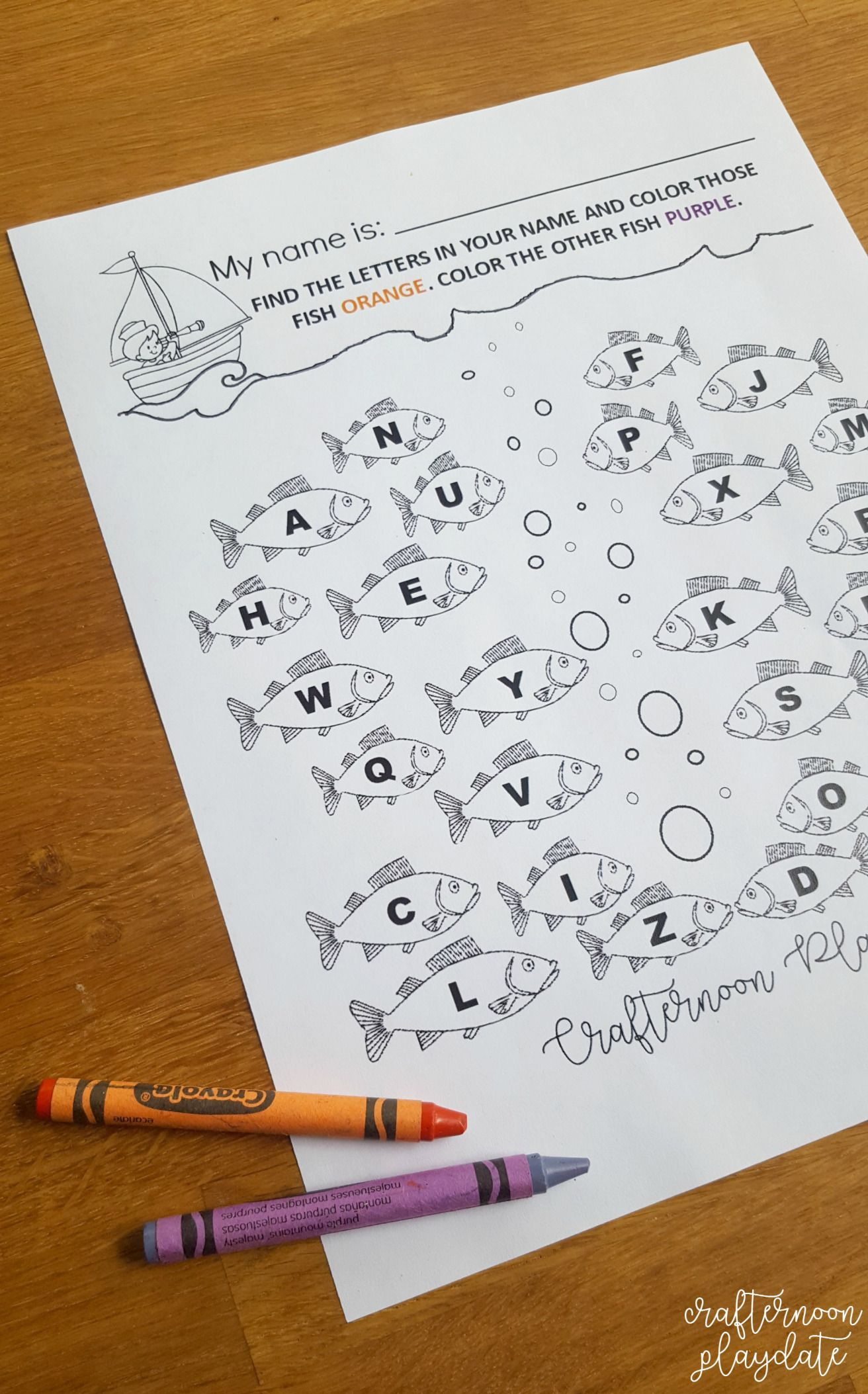My Name Is Letter Fishing Worksheet