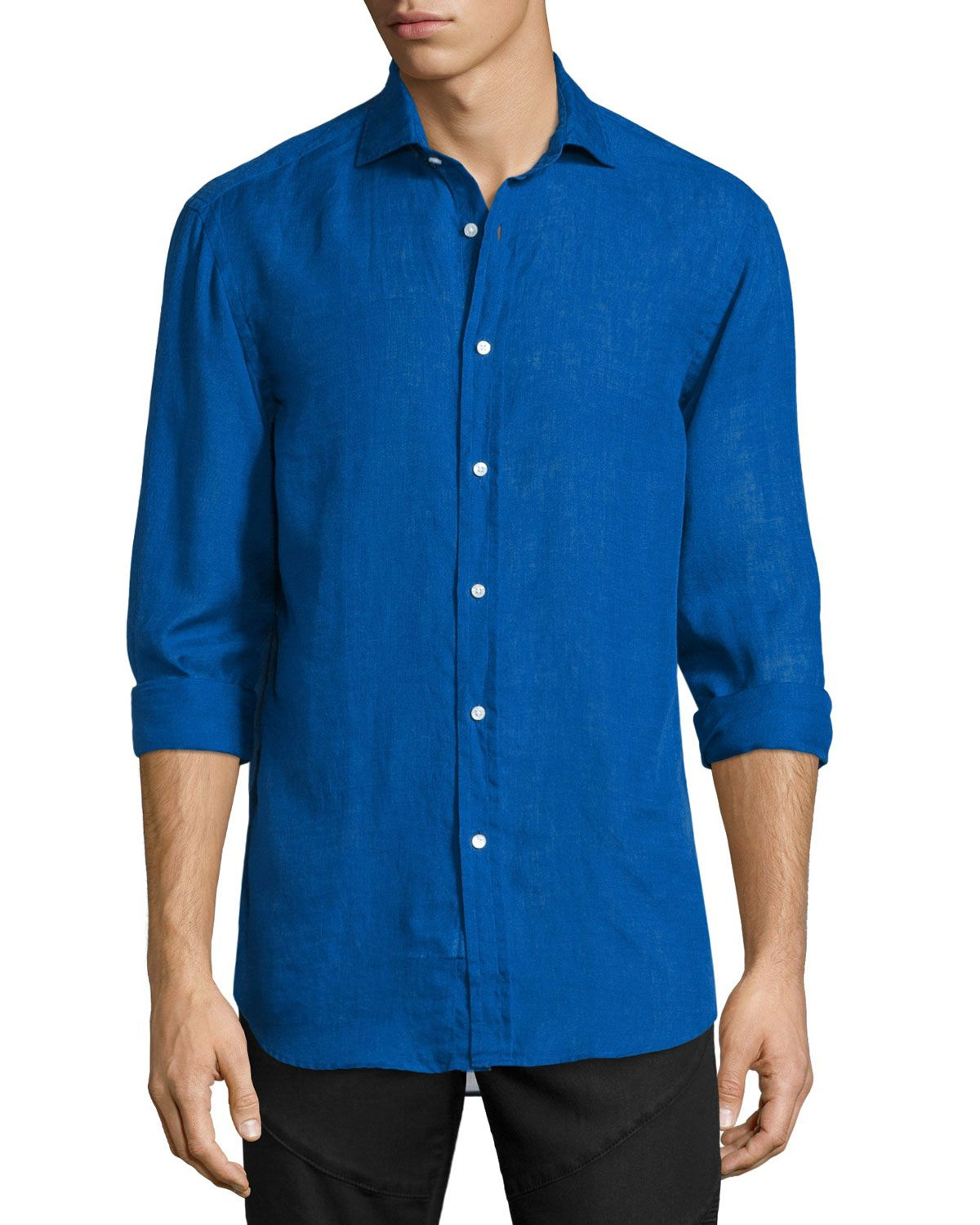 1c6849df RALPH LAUREN SOLID LINEN/COTTON LONG-SLEEVE SPORT SHIRT, NAVY ...
