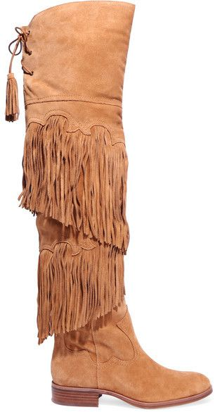 c0a6420dd Sam Edelman - Jericho Fringed Suede Over-the-knee Boots - Tan