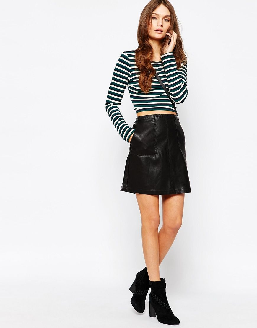 Image of new look faux leather aline skirt outfits pinterest