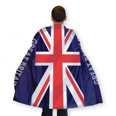 One size fits most Amscan Great Britain Flag Body Cape