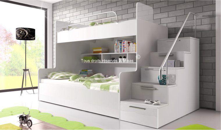 Lit Superpose Avec Escalier Et Rangements Camille Chambre A Coucher Lits Superposes Modernes Chambre A Coucher Design