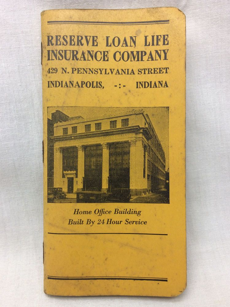 Vtg Calendar 1934 Reserve Loan Life Insurance Co Planner
