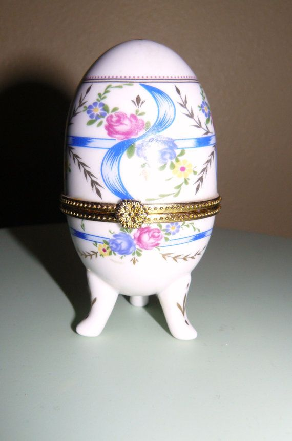 Vintage Porcelain Egg Hinged Trinket Box by OffTheChainVintage, $7.99