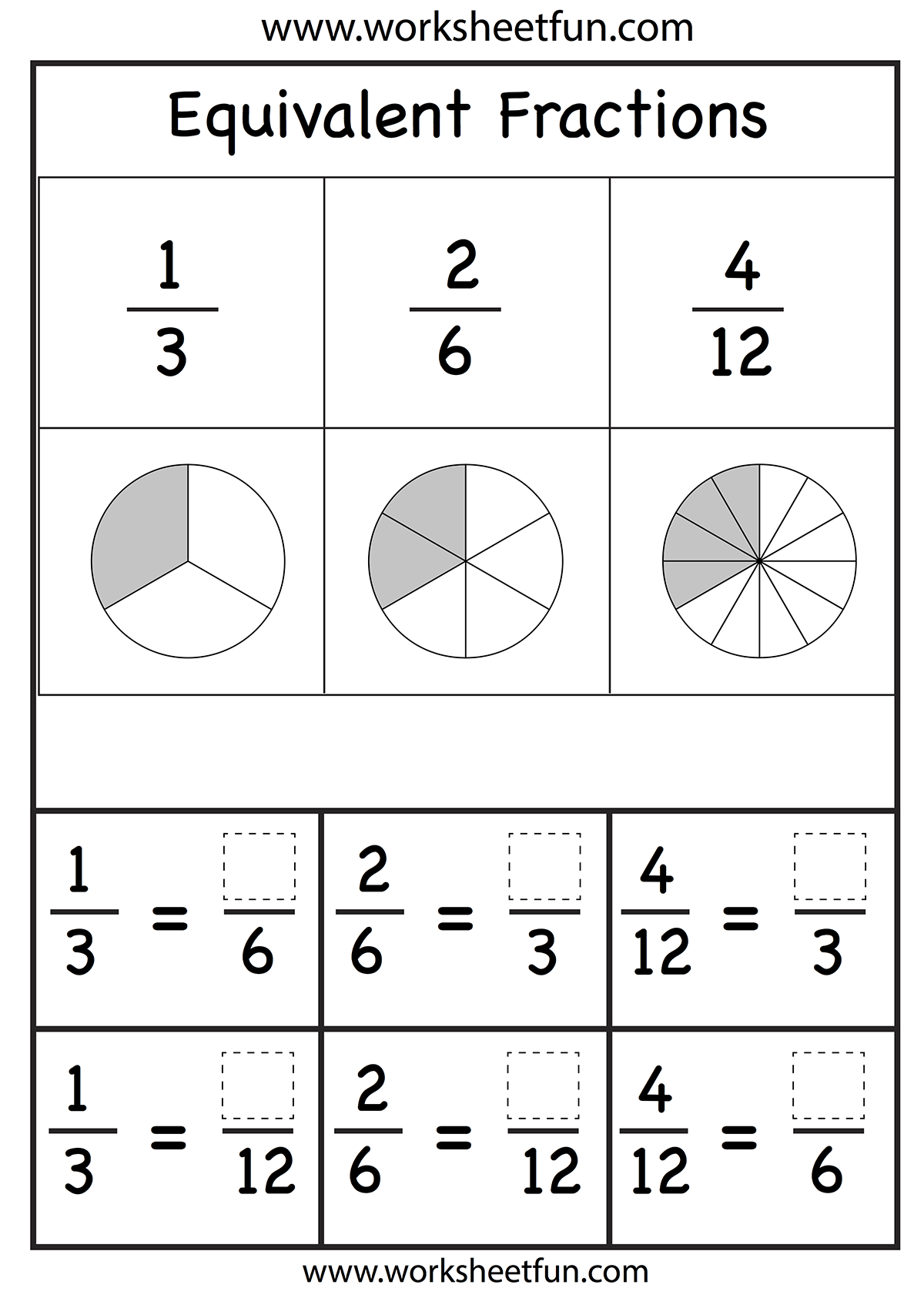 Fractions Worksheet Homeschooling Math