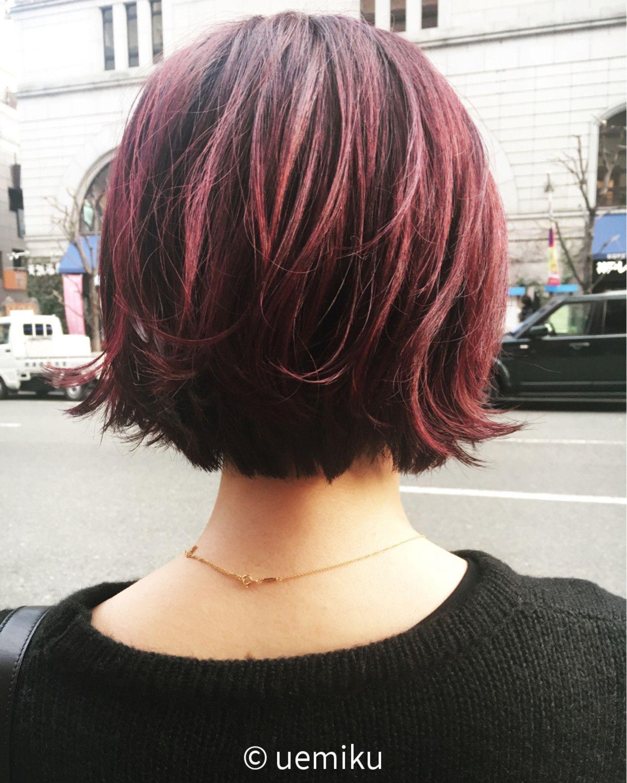 チェリー レッド 髪 色 ヘアスタイリング ヘアースタイル