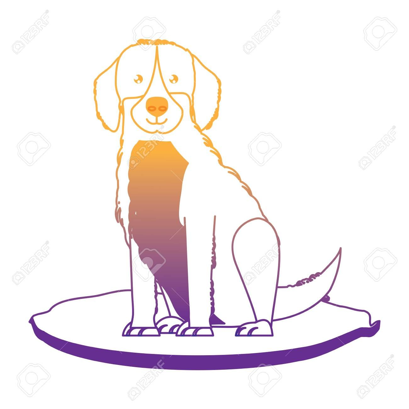 Cute Golden Retriever Icon Over White Background Vector